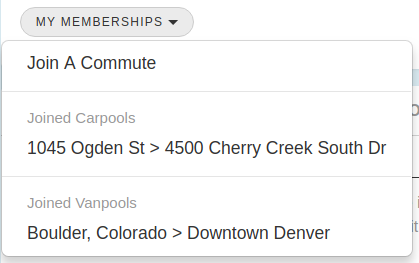 My Commute - My Memberships Menu