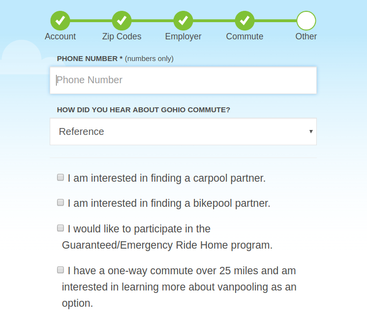 Registration Additional Questions Screen