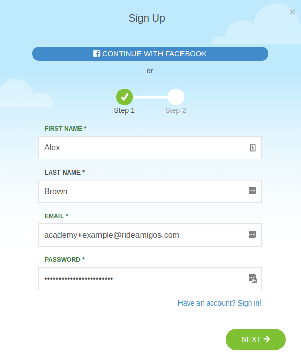Registration Step 1 Screen