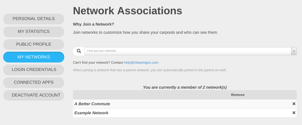 User Network Associations Screenshot